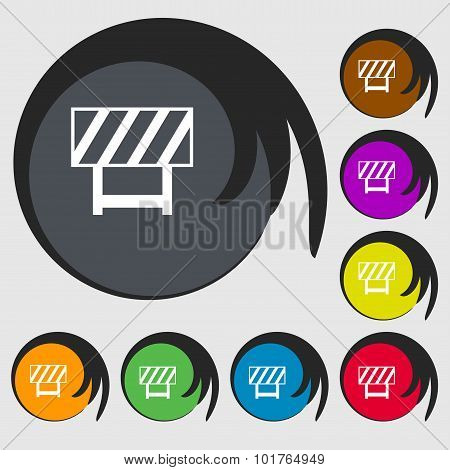 Road Barrier Icon Sign. Symbols On Eight Colored Buttons. Vector