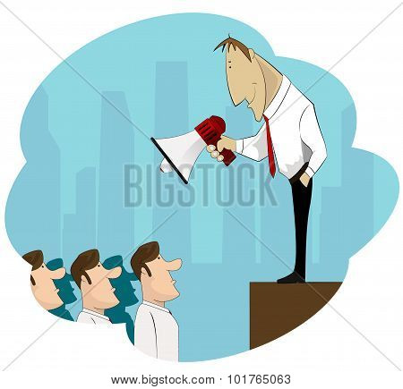 Businessman Boss Hold Megaphone