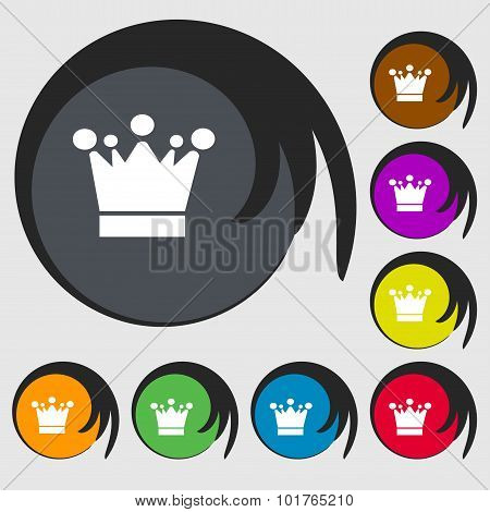 Crown Icon Sign. Symbols On Eight Colored Buttons. Vector