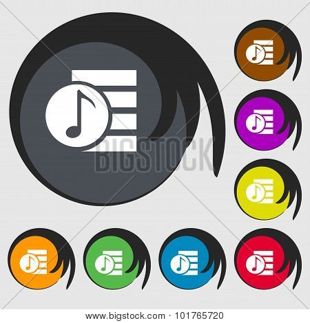 Audio, Mp3 File Icon Sign. Symbols On Eight Colored Buttons. Vector