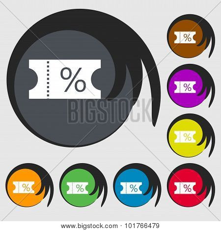 Ticket Discount Icon Sign. Symbols On Eight Colored Buttons. Vector