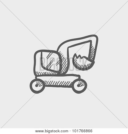 Excavator truck sketch icon for web, mobile and infographics. Hand drawn vector dark grey icon isolated on light grey background.