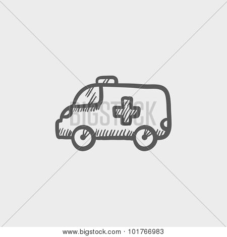 Ambulance car sketch icon for web, mobile and infographics. Hand drawn vector dark grey icon isolated on light grey background.