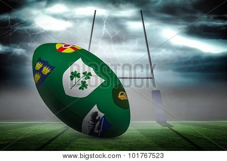 Various coat of arms on rugby ball against rugby pitch