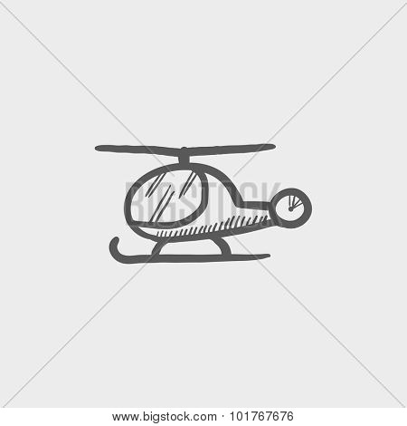 Helicopter sketch icon for web, mobile and infographics. Hand drawn vector dark grey icon isolated on light grey background.