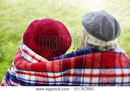 Back view of affectionate seniors
