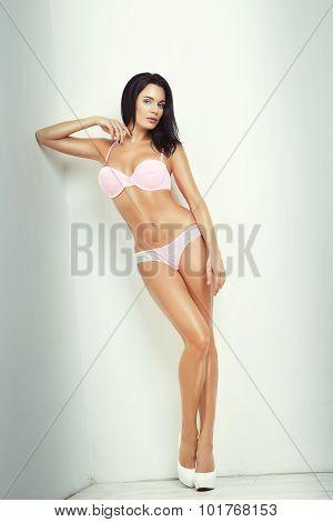 Attractive Brunette Girl In Lingerie