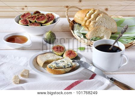 Ripe Figs, Blue Cheese, Baguette And Cup Of Coffe