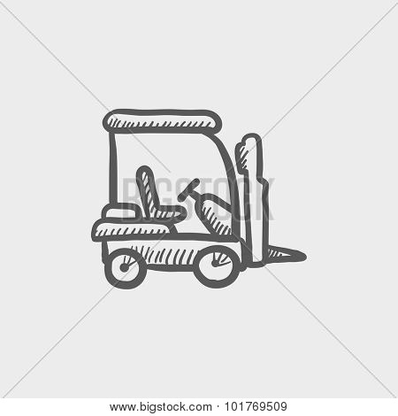 Forklift sketch icon for web, mobile and infographics. Hand drawn vector dark grey icon isolated on light grey background.