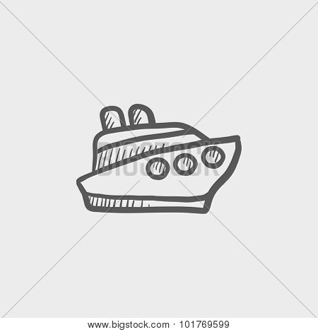 Cruise ship sketch icon for web, mobile and infographics. Hand drawn vector dark grey icon isolated on light grey background.