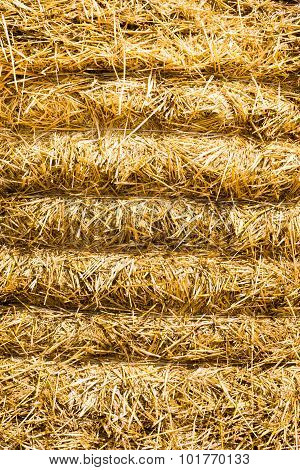 Closeup Of A Stacked Round Straw Bale