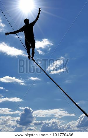 Man Balancing On The Rope Concept Of Risk Taking