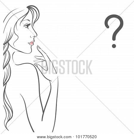 Young woman with question. Isolated on white background