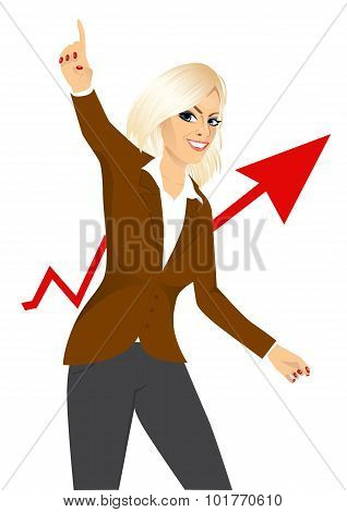 excited woman raising her right arm