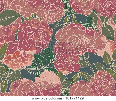 Seamless Pattern With Graphic Bush Roses