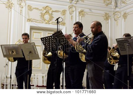 ST. PETERSBURG, RUSSIA - SEPTEMBER 7, 2015: Musicians of