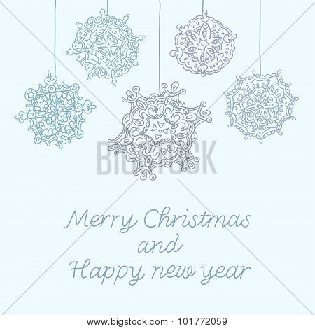 Happy New Year card with snowflakes. Vector illustration.