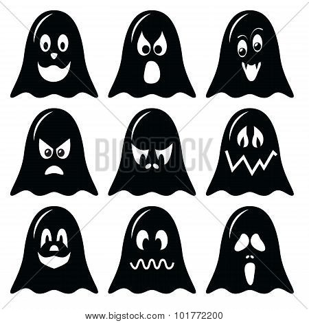 Scary Halloween  ghosts  characters icons set in black and white