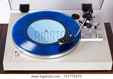 Analog Stereo Turntable Vinyl Blue Record Player