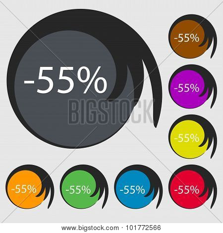 55 Percent Discount Sign Icon. Sale Symbol. Special Offer Label. Symbols On Eight Colored Buttons. V
