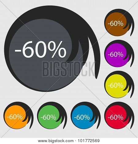 60 Percent Discount Sign Icon. Sale Symbol. Special Offer Label. Symbols On Eight Colored Buttons. V