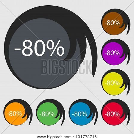 80 Percent Discount Sign Icon. Sale Symbol. Special Offer Label. Symbols On Eight Colored Buttons. V