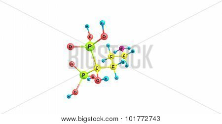 alendronate sodium molecular structure isolated on white
