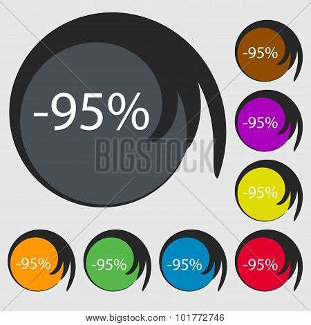 95 Percent Discount Sign Icon. Sale Symbol. Special Offer Label. Symbols On Eight Colored Buttons. V