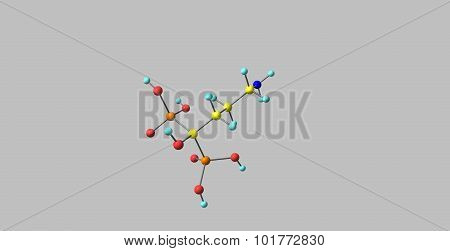 alendronate sodium molecular structure isolated on grey