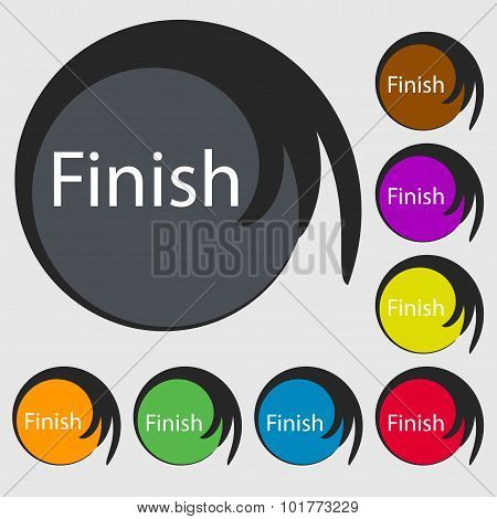 Finish Sign Icon. Power Button. Symbols On Eight Colored Buttons. Vector