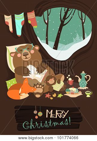Cute bear with cub and little fox sleeping in his den