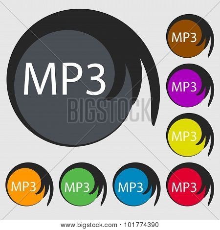 Mp3 Music Format Sign Icon. Musical Symbol. Symbols On Eight Colored Buttons. Vector