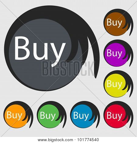 Buy Sign Icon. Online Buying Dollar Usd Button. Symbols On Eight Colored Buttons. Vector
