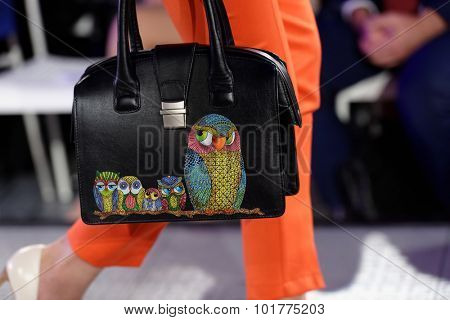 ST. PETERSBURG, RUSSIA - SEPTEMBER 14, 2015: Bag exposed at the fashion show of project