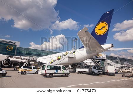 Lufthansa Aircraft At The Gate In Frankfurt Airport