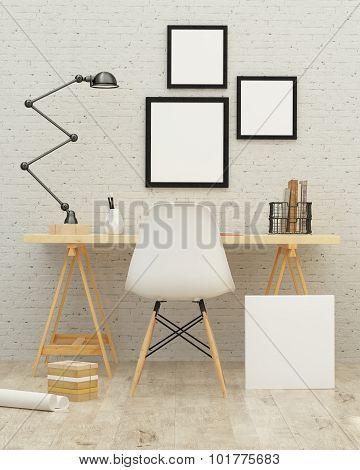 3D Illustration Of Poster Frame Template, Workspace