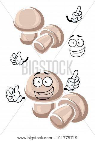 Cartoon funny champignon mushrooms characters