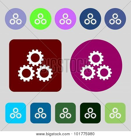 Cog Settings Sign Icon. Cogwheel Gear Mechanism Symbol. 12 Colored Buttons. Flat Design. Vector