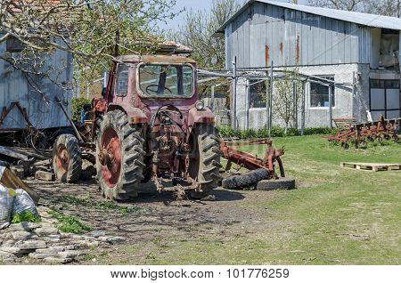Old abandoned farm machinery,  tractor