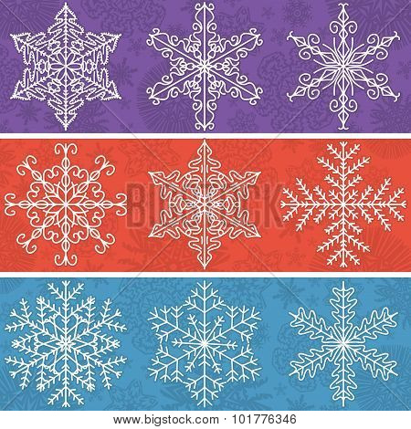 Color  Background With Snowflakes Line Stile, Vector