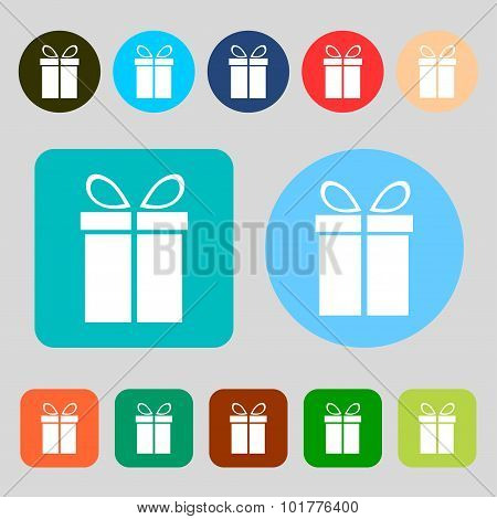 Gift Box Sign Icon. Present Symbol. 12 Colored Buttons. Flat Design. Vector