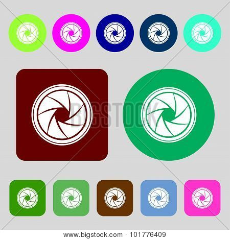 Diaphragm Icon. Aperture Sign. 12 Colored Buttons. Flat Design. Vector