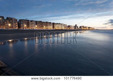 Beach In Blankenberge At Sunset, Belgium