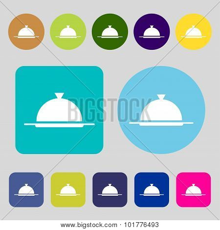 Food Platter Serving Sign Icon. Table Setting In Restaurant Symbol. 12 Colored Buttons. Flat Design.