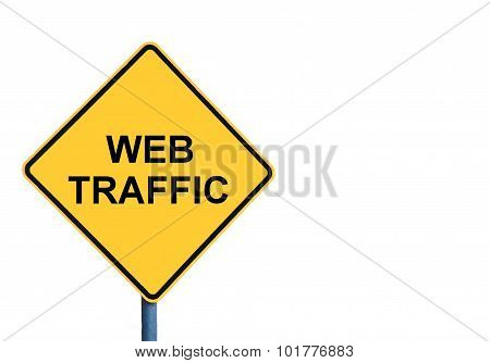 Yellow Roadsign With Web Traffic Message