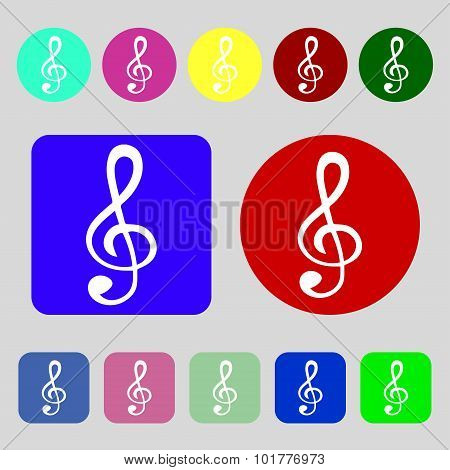 Treble Clef Icon. 12 Colored Buttons. Flat Design. Vector