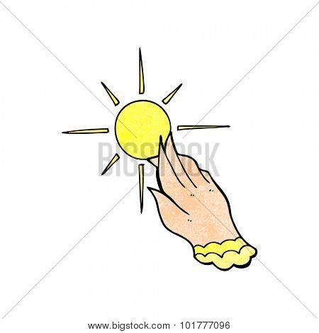 cartoon hand reaching for sun