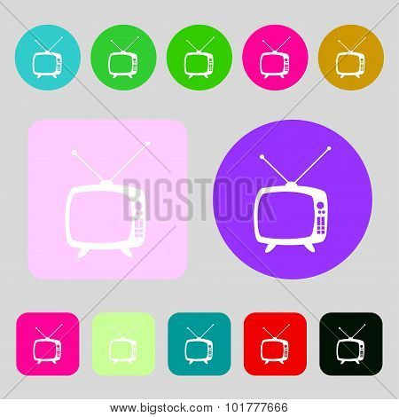 Retro Tv Mode Sign Icon. Television Set Symbol. 12 Colored Buttons. Flat Design. Vector