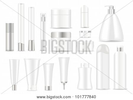 White cosmetic tubes.