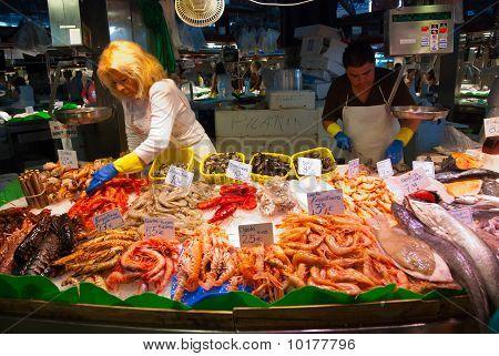 Fish Shop In La Boqueria Market